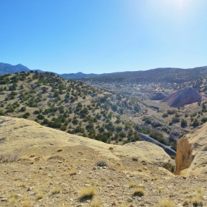 """View from the """"wilderness"""" trail, looking south toward Madrid, NM."""